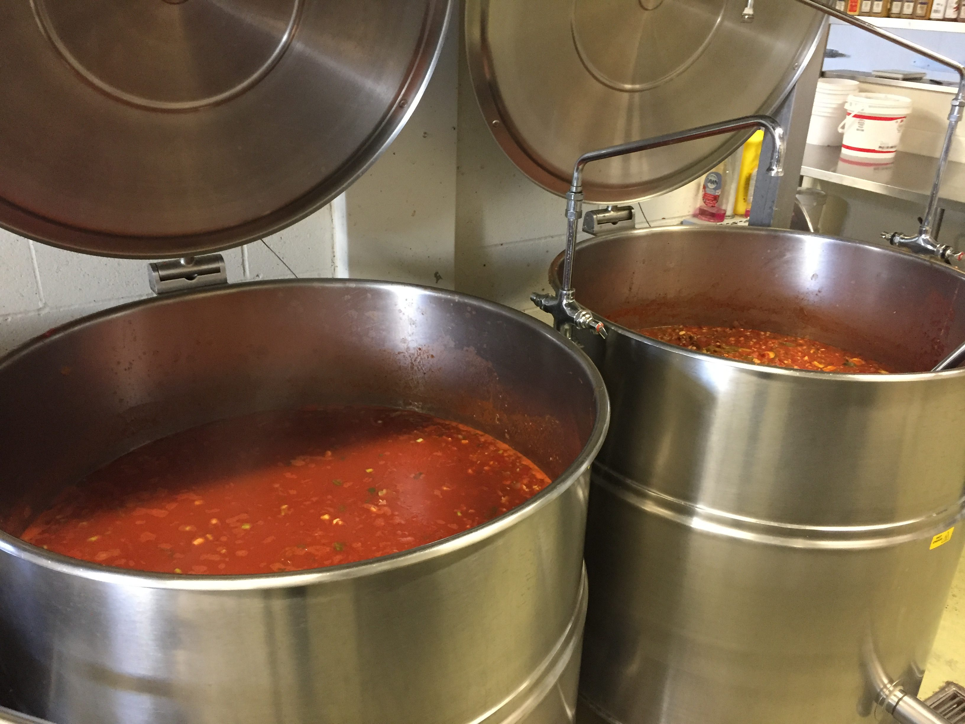 Meals are cooked in large drums.