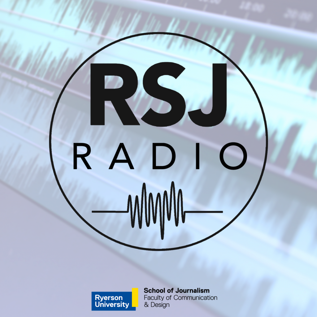 "Sound waves with ""RSJ Radio"" logo in a circle on top."
