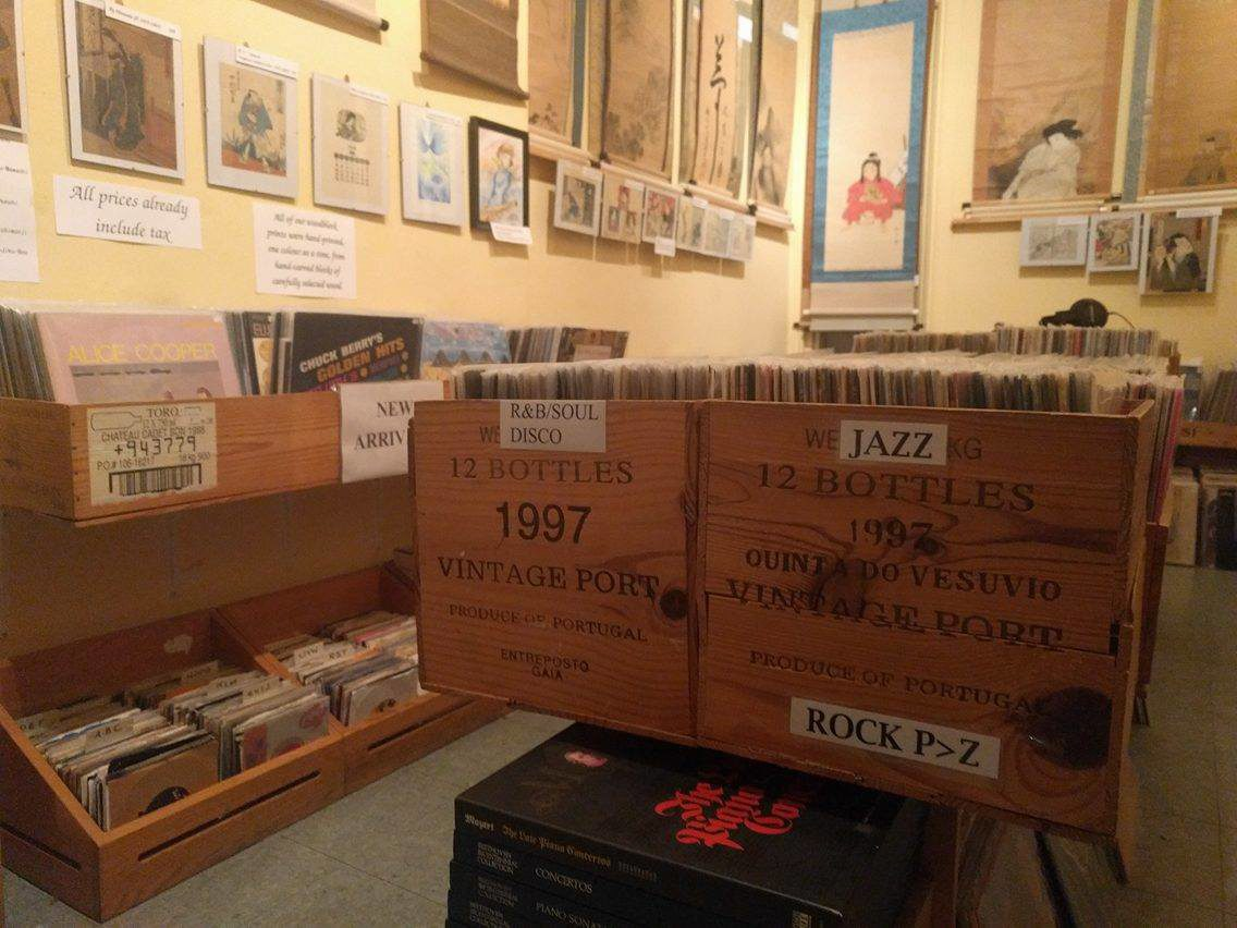 Jazz and R&B records stored in used wine crates at Paradise Bound.