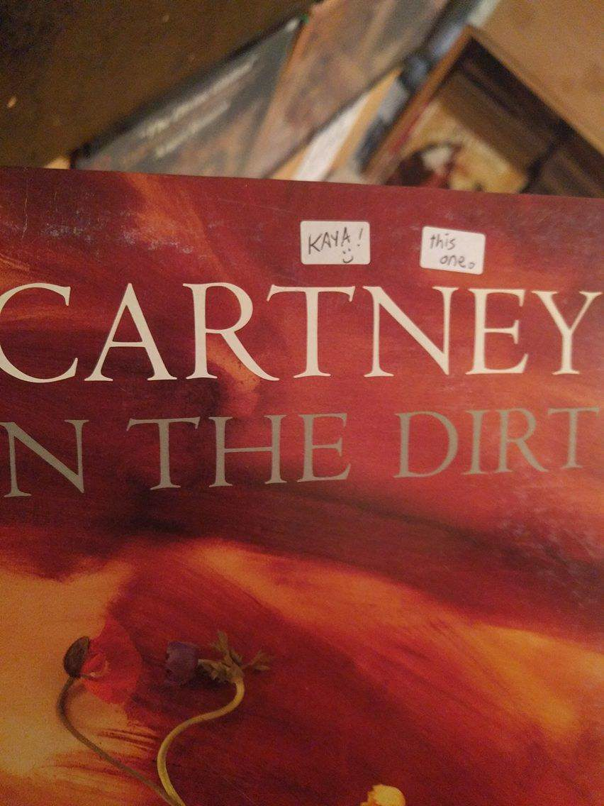 """Close-up of McCartney album with two sticker reading """"Kaya!"""" and """"this one"""""""