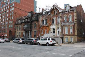 Exterior of brick row houses where Emily Stevenson lives