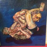 Painting of two men wrestling by Rick McCarthy.