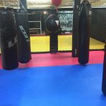 Training room with five punching bags.