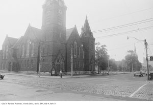 Church on corner of Jarvis St. and Gerrard St. in black and white.