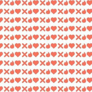 White background with orange x's, hearts and tinder logos.