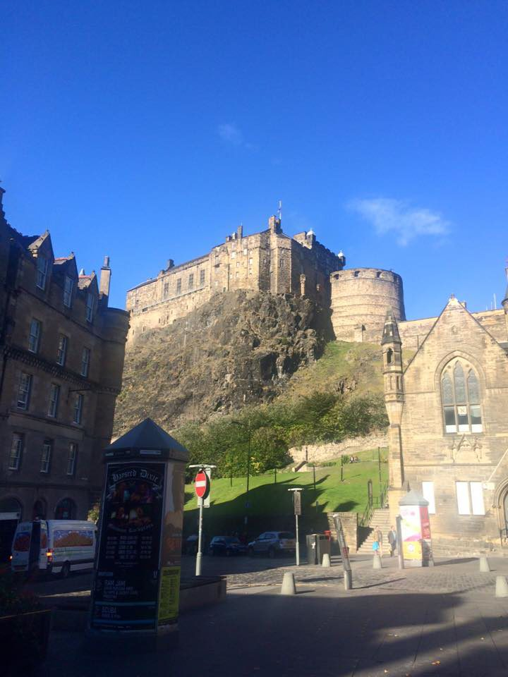 View of Edinburgh castle on cliff in Scotland.