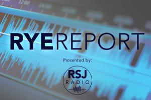 "Blue soundwaves with ""RyeReport"" written over with RSJ Radio logo"