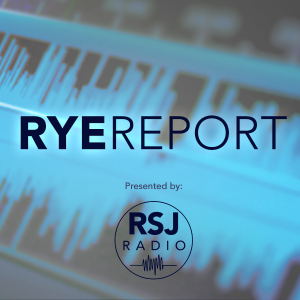 "Blue soundwaves with ""RyeReport"" written over with RSJ Radio logo"