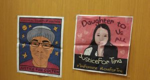 """Posters that say """"Justice for Colten"""" with drawing of man and """"Justice for Tina"""" with drawing of woman."""
