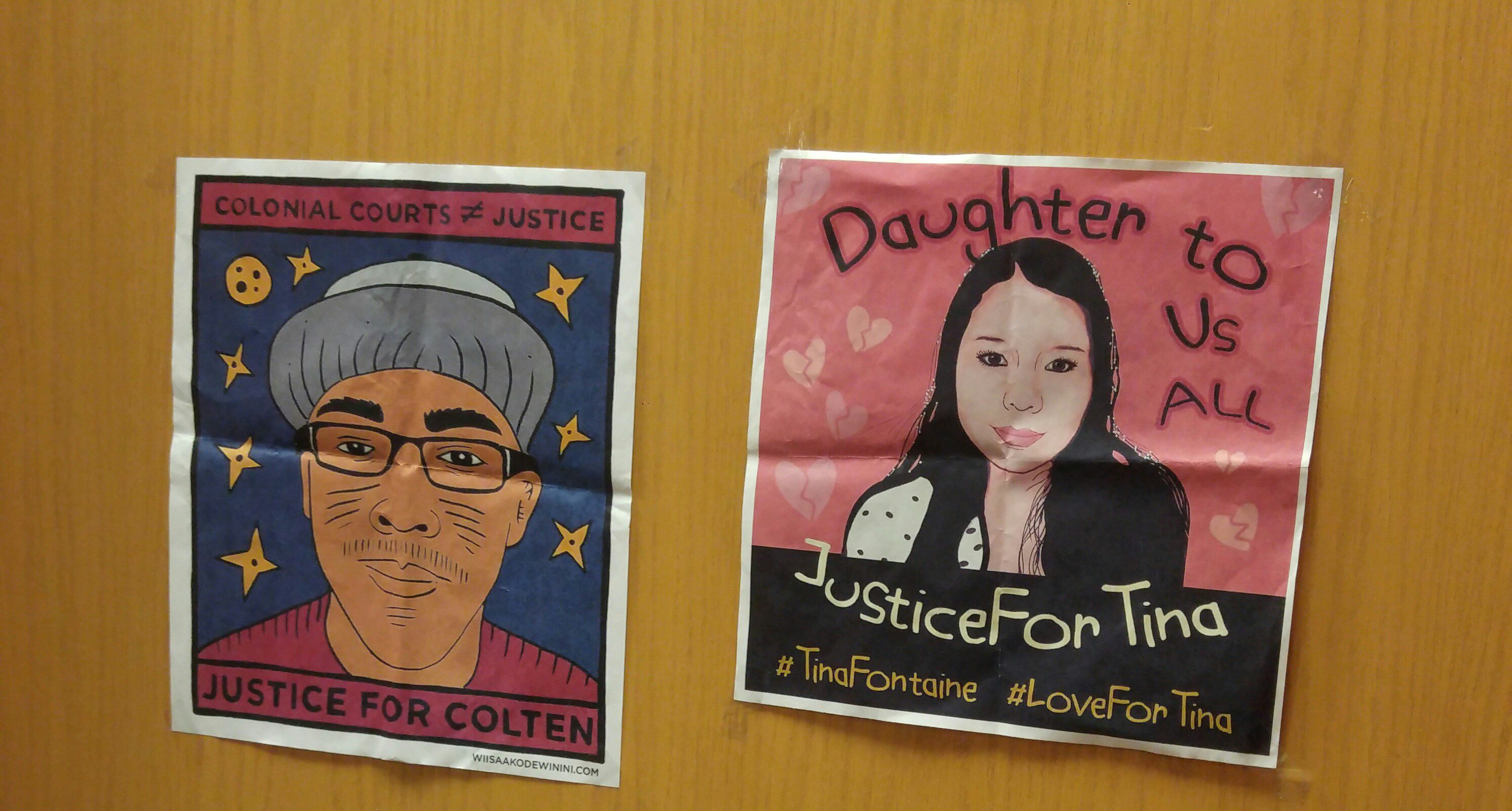 "Posters that say ""Justice for Colten"" with drawing of man and ""Justice for Tina"" with drawing of woman."