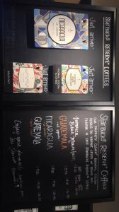 Black chalkboard Starbucks Reserve Coffee menu.