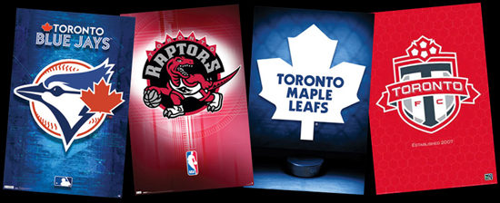 Sports logos for Toronto Blue Jays, Toronto Raptors, Toronto Maple Leafs and Toronto FC.
