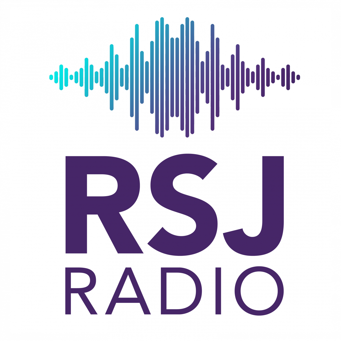 "Blue and purple sound waves with text ""RSJ Radio"""