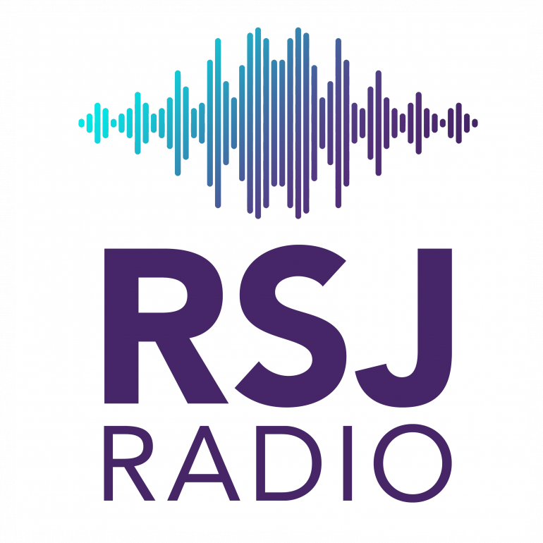 """Blue and purple sound waves with text """"RSJ Radio"""""""