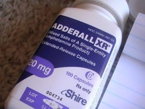 Purple pill bottle for Adderall XR.