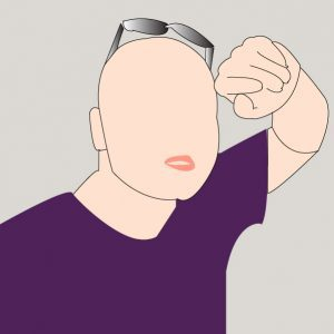 Digitally rendered image of person in purple shirt and sunglasses with hand above face.