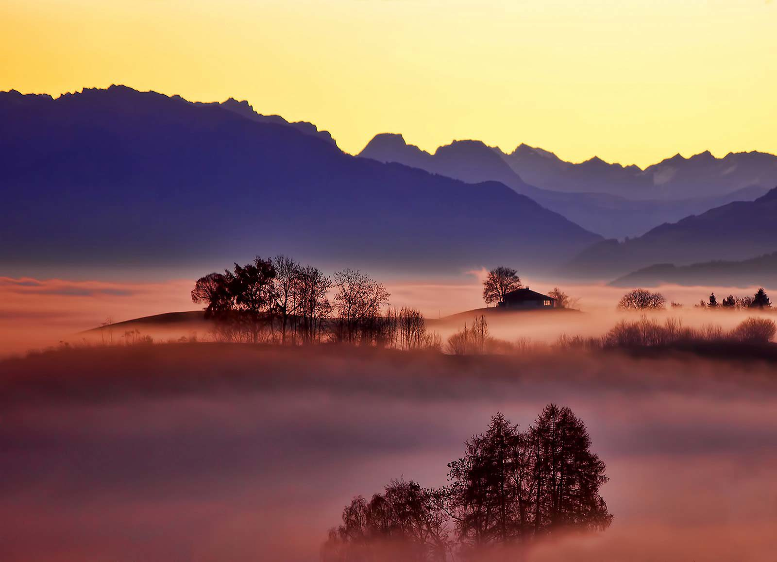 View of mountains and trees in fog with house in distance.