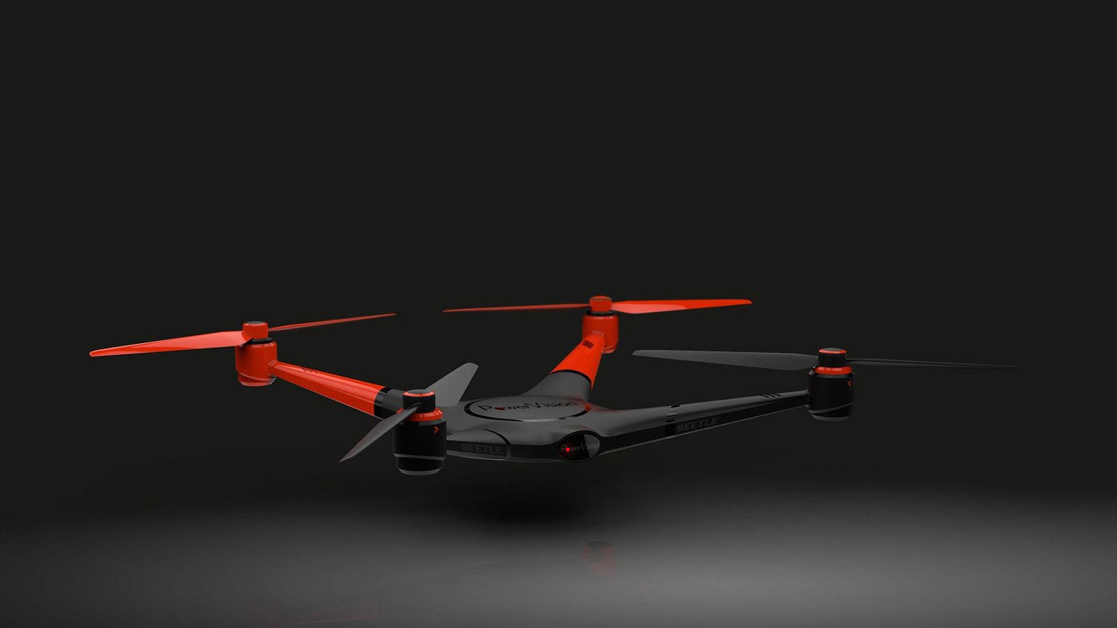 Red and black drone flying over black background.