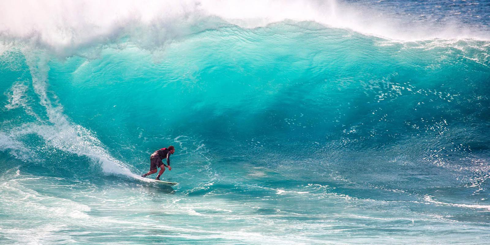 Person surfacing on large wave.