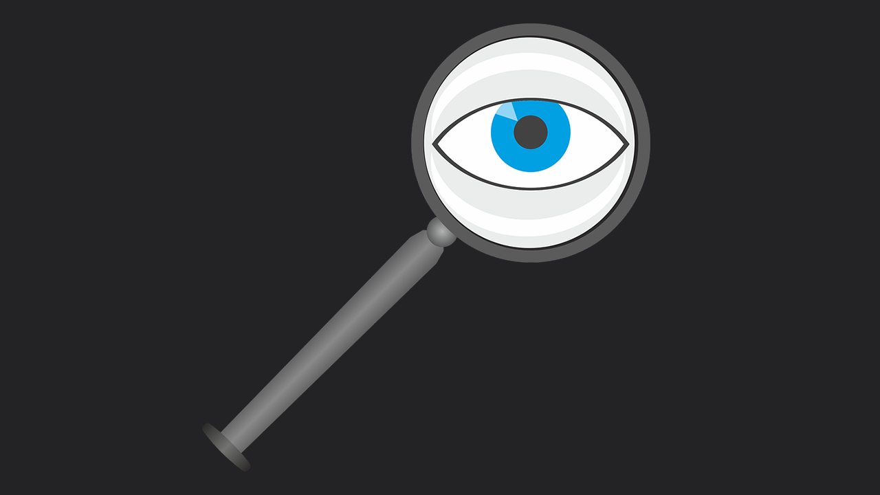 Drawing of grey magnifying glass with blue eye in centre.