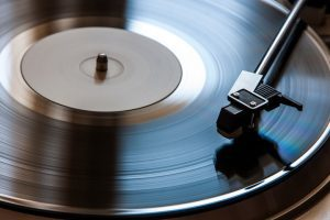 Close up of record player.