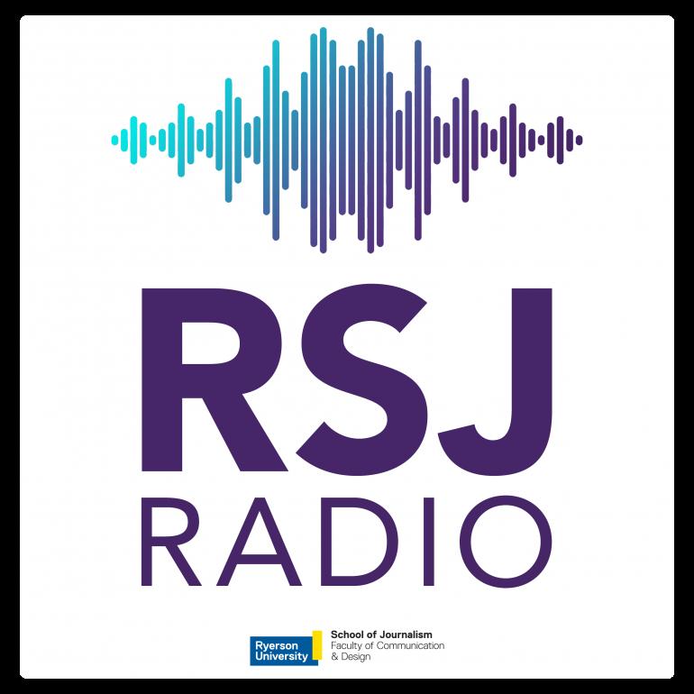 "RSJ RadioBlue and purple sound waves with text ""RSJ Radio"""