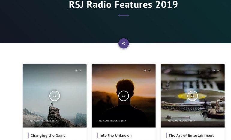 "Webpage titled ""RSJ Radio Features 2019"""