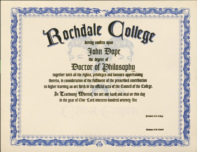 Certificate from Rochdale College for John Dope's degree of Doctor of Philosophy.
