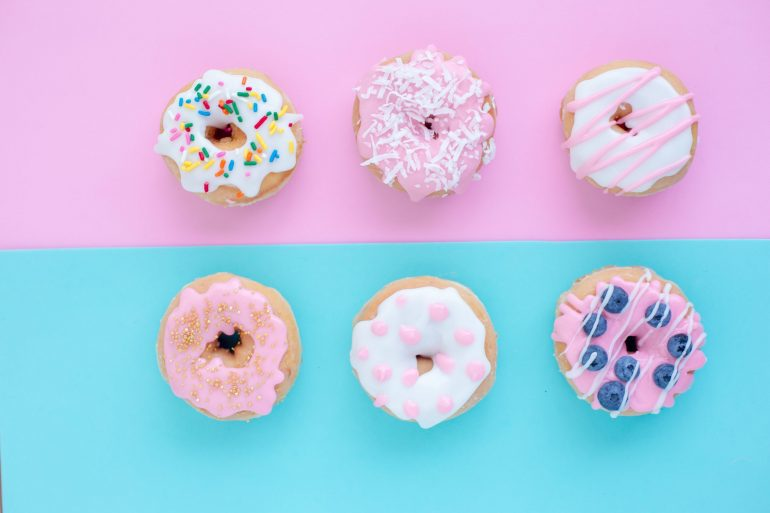 light pink and blue squares with donuts on them.